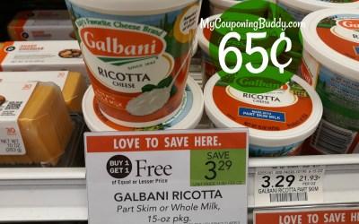 Galbani Ricotta Cheese 65¢ at Publix