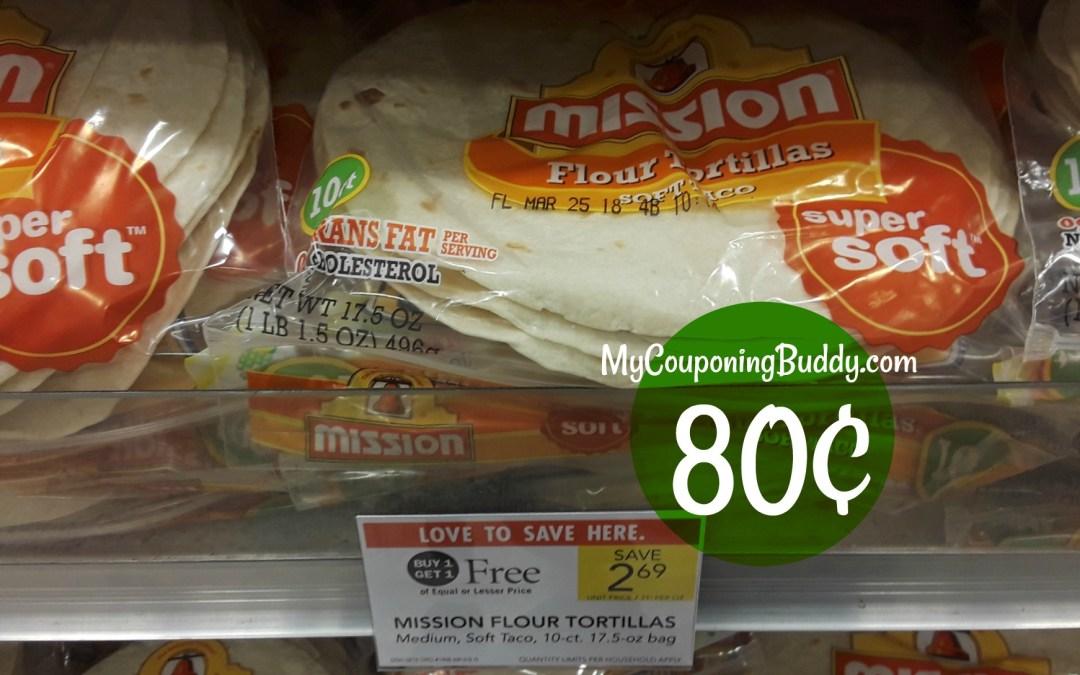 Mission Flour Tortillas as low as 80¢ at Publix