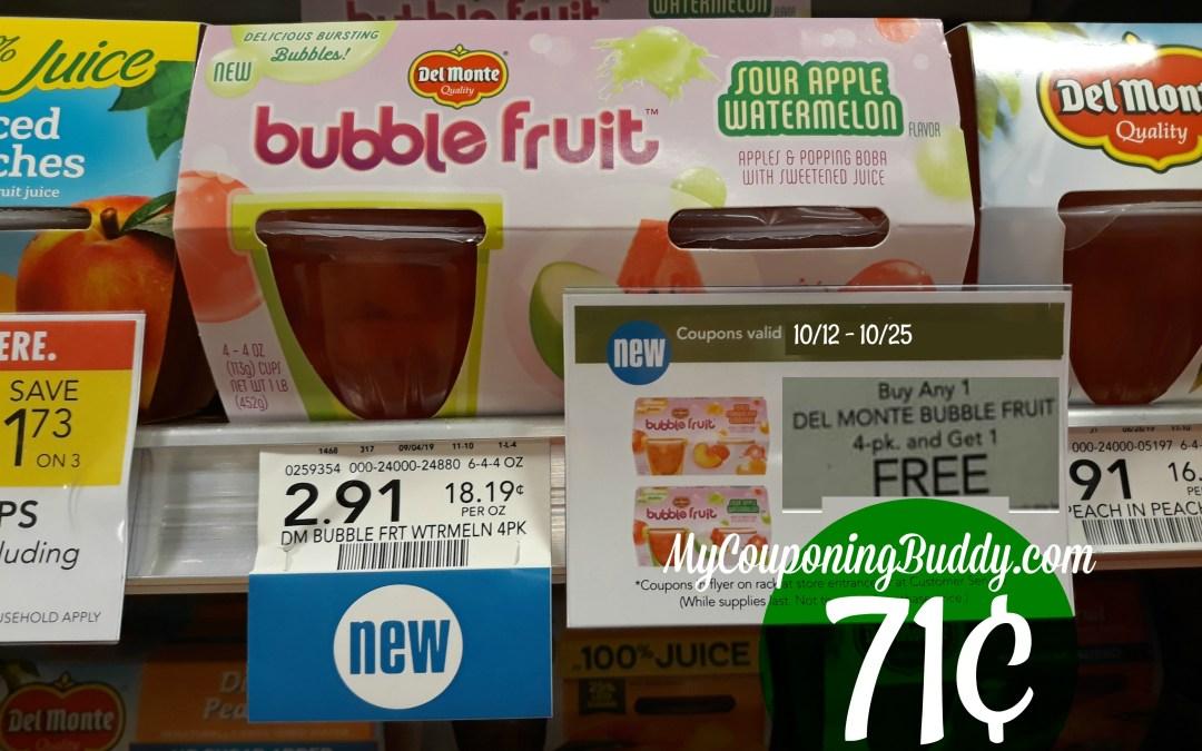 Del Monte Bubble Fruit 4pk 71¢ at Publix