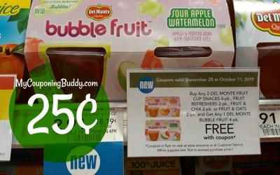Del Monte Bubble Fruit 4pk. 25¢ at Publix