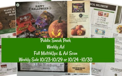 Publix Full MatchUps & Ad Scan 10/23-10/29 or 10/24 -10/30