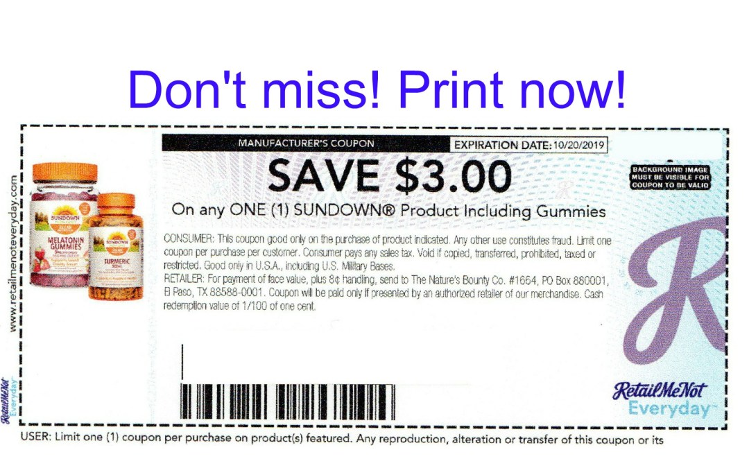 Sundown printable coupon Publix