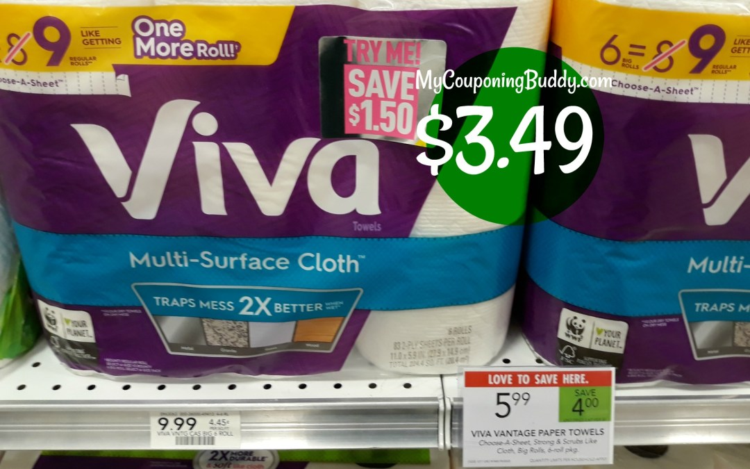 Viva Paper Towels 6pk $3.49 at Publix