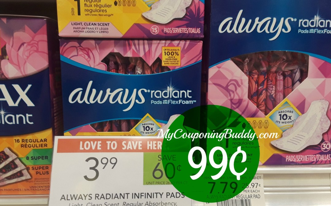 Always Radiant Liners or Pads 99¢ at Publix
