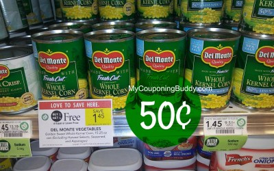 Del Monte Canned Vegetables 50¢ at Publix