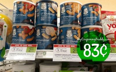 Gerber Snacks 83¢ at Publix
