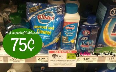 Glisten Dishwasher Machine Cleaner or Garbage Disposal Cleaner 75¢ at Publix