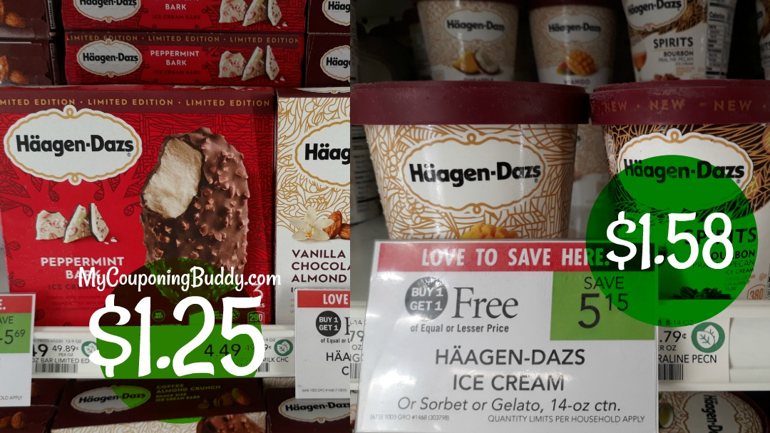 Häagen-Dazs Ice Cream Bars or Pints as low as $1.25 at Publix