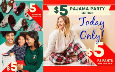 Today only: $5 PJs, Slippers and Thermal Tees at Old Navy