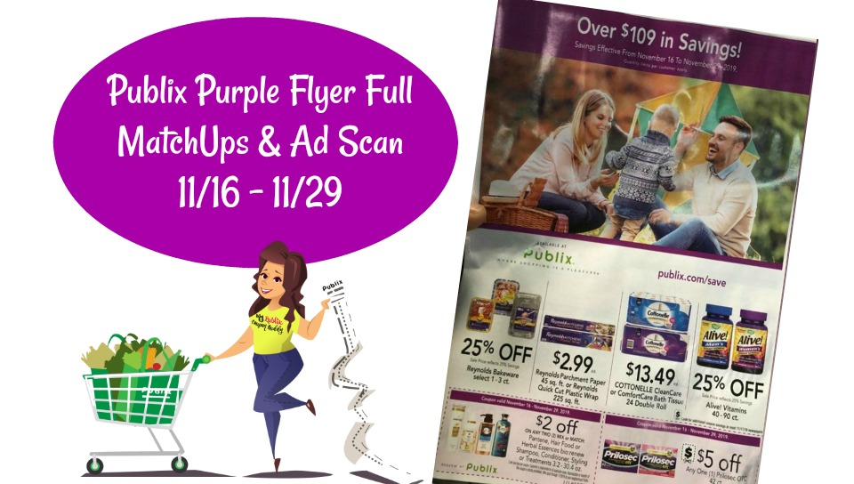 Publix Purple Flyer Coupon 11/16 - 11/29 full Match ups & ad Scan Couponing