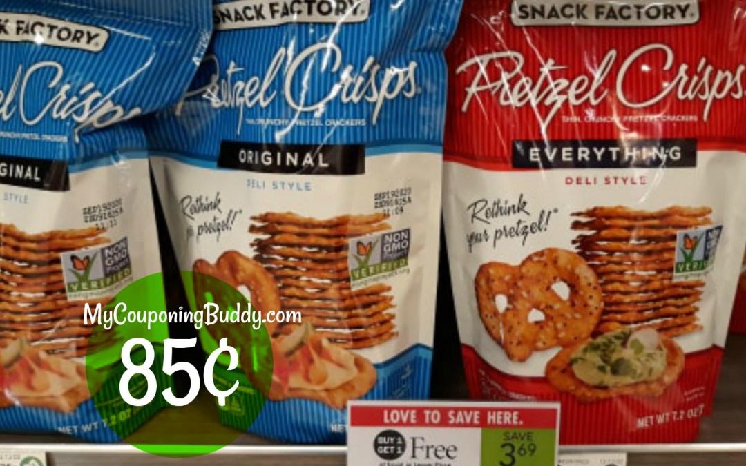 Snack Factory Pretzel Crisps 85¢ at Publix