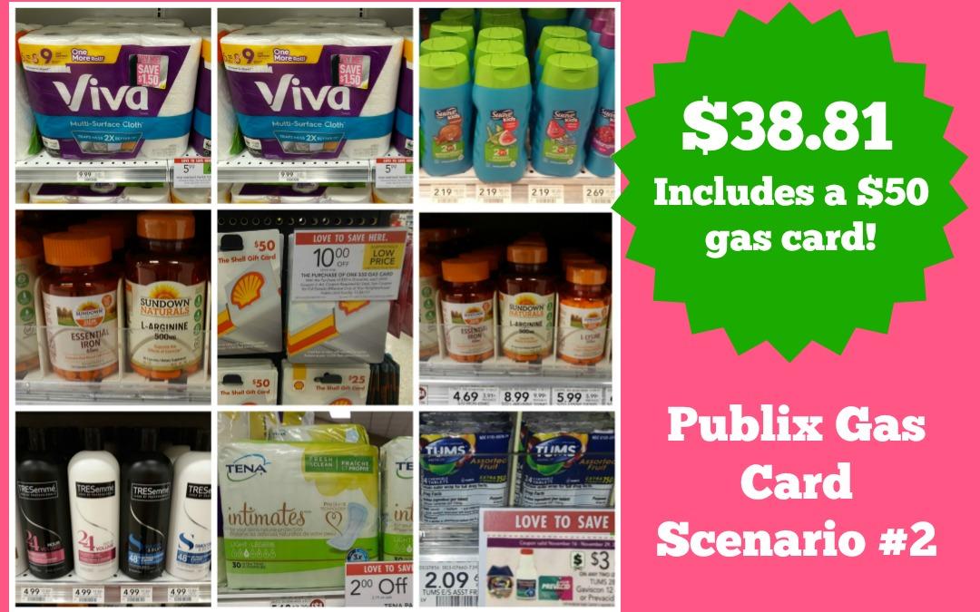 Publix Gas Card Scenario #2 $38.81 (includes cost of $50 Gas Card)