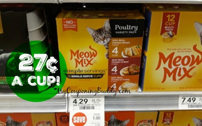 Meow Mix Wet Cat Food Cups 27¢ each at Publix