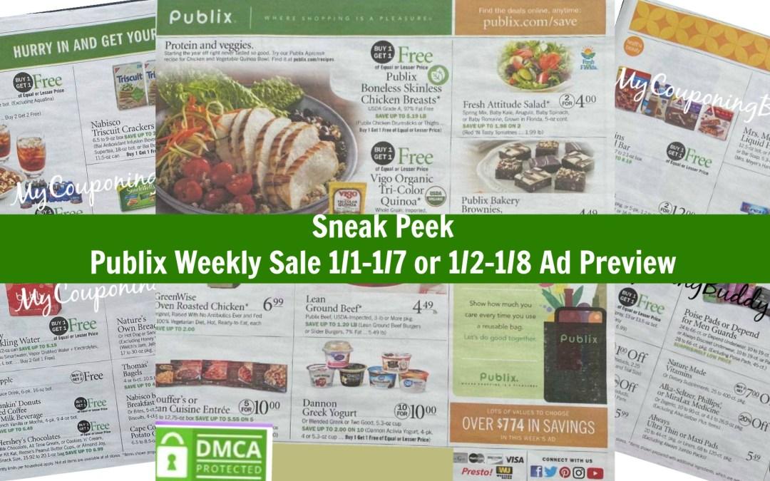 Publix Weekly Sale 1/1-1/7 or 1/2-1/8 Ad Preview Sneak Peek