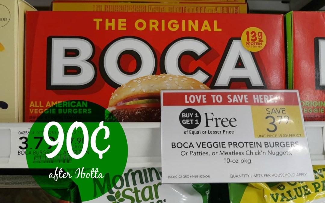 Boca Burgers 90¢ at Publix after Ibotta rebate
