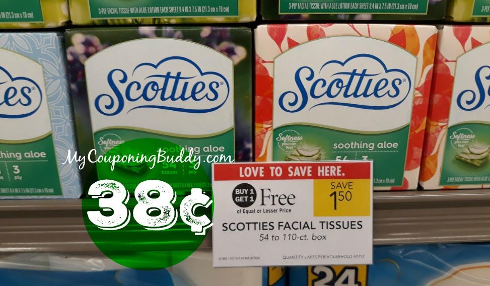 Scotties Facial Tissues 38¢ at Publix Couponing Deal