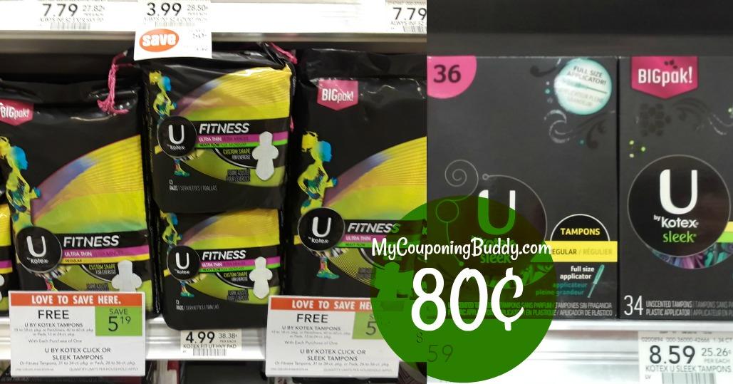 U by Kotex Big Packs 80¢ at Publix