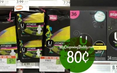 U by Kotex Tampons, Pantiliners or Pads 80¢ at Publix