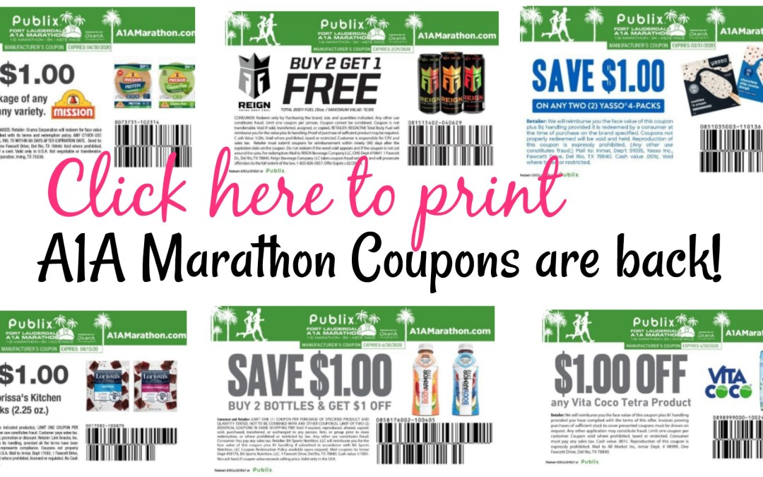 A1a Marathon Coupons are back!