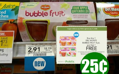 Del Monte Bubble Fruit 4pk. just 25¢ at Publix