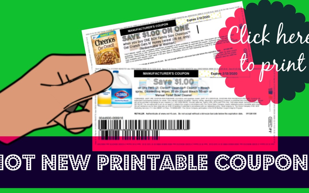 New Printable Coupons ~ Cheerios & Clorox