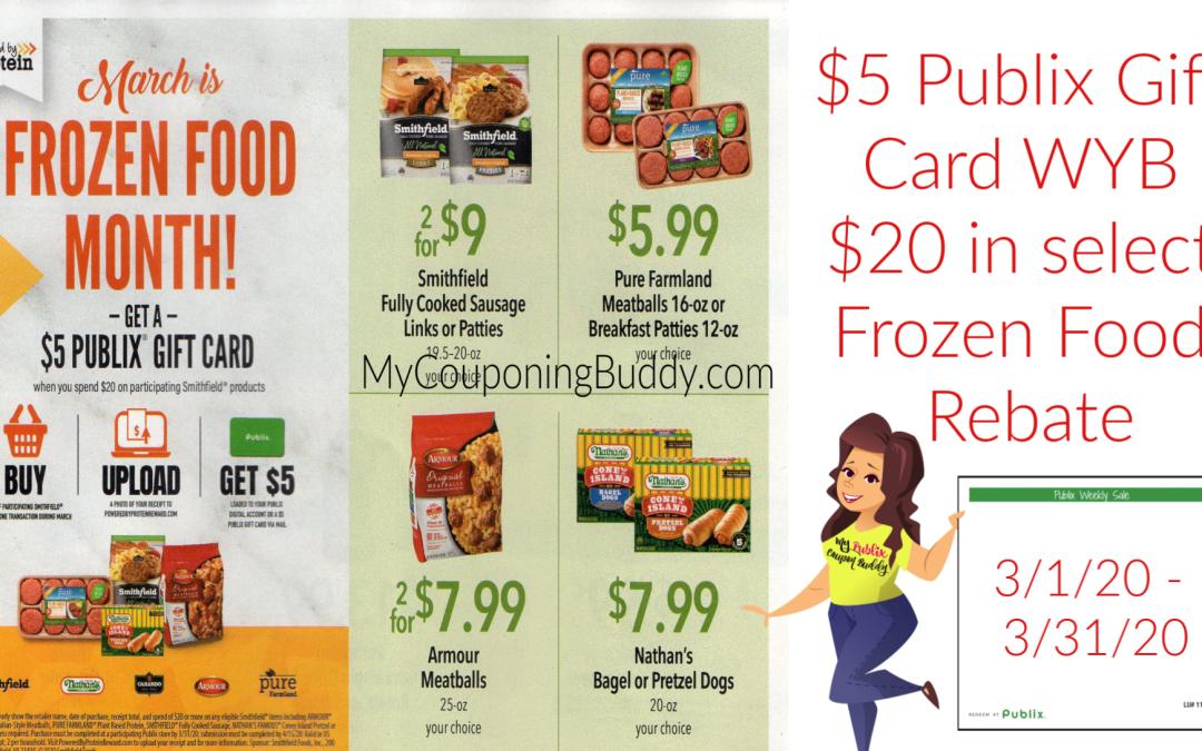 Smithfield Publix Frozen Rewards Rebate ~ $5 Gift Card WYB $20