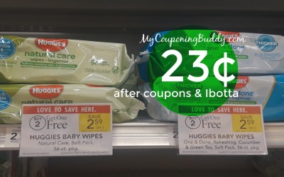 Huggies Wipes 23¢ at Publix (after coupons & Ibotta)