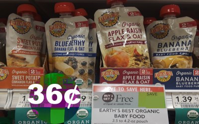 Earth's Best Baby Food  Pouch 36¢ at Publix