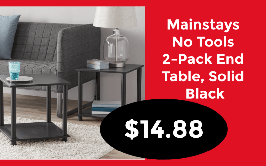 Mainstays No Tools 2-Pack End Table, Solid Black just $14.88