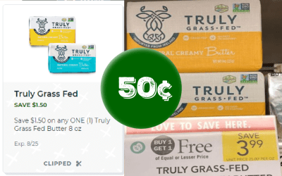 Truly Grass Fed Butter 50¢ at Publix
