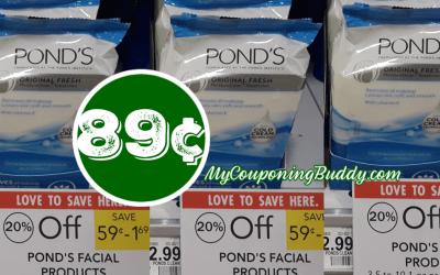 Pond's Facial Wipes 89¢ at Publix