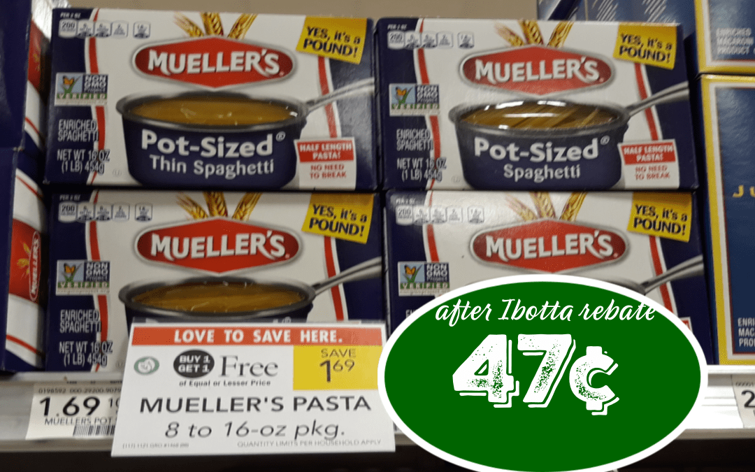 Muellers Mueller's Pasta 12 – 16 oz BOGO Buy (2) $1.69 $0.75/2 Ibotta rebate click here. Pay 47¢ ea after Ibotta rebate
