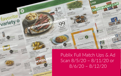 Publix Weekly Sale MATCHUPS 8/5/20 – 8/11/20 or 8/6/20 – 8/12/20