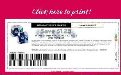 HOT Coupon ~ SAVE $1.25 DEER PARK® BRAND 100% NATURAL SPRING WATER on ONE (1) Deer Park 700ML / 1L / 1.5L & 20oz multipack