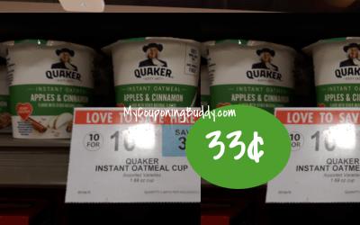 Quaker Instant Oatmeal Cups 33¢ at Publix
