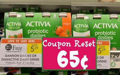 Coupon Reset ~ Dannon Probiotic Dailies 8 pack 65¢ at Publix