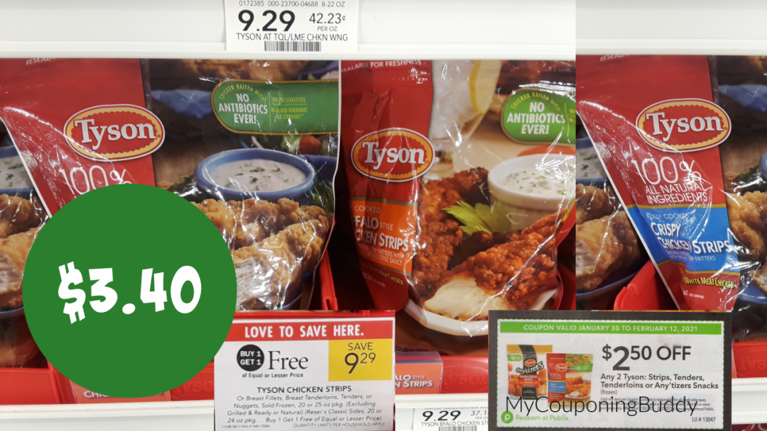 Tyson Chicken Strips (Publix Coupon) Extra Savings Flyer (valid 1/30/21-2/12/21