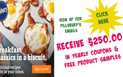 Sign up with Pillsbury  to receive up to $250 in yearly coupons, access to free product samples!