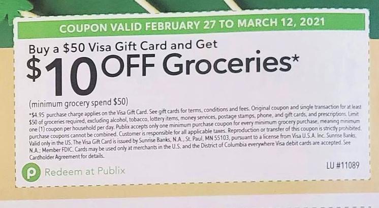 Publix  Extra Savings Flyer 2/27/21 - 3/12/21 Visa Gift Card Offer Publix Coupon