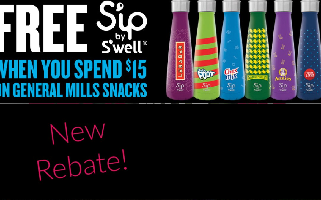 Free Sip by S'well Water Bottle wyb $15 in General Mills Snacks: including Annie, Betty Crocker, Chex Mix, Cascadian Farm, Fiber One, Nature Valley, or Larabar, Online REBATE