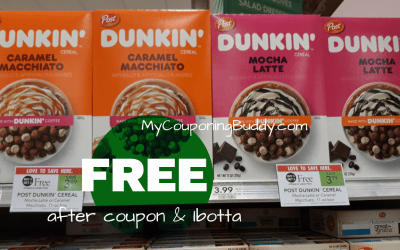 FREE Post® Dunkin Caramel Macchiato or Mocha Latte cereals at Publix