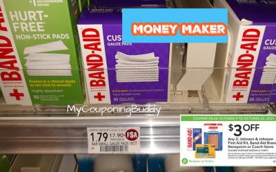 Money Maker on Band Aid Gauze Pads at Publix