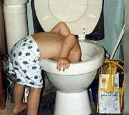 kid drinking out of the toilet bowl