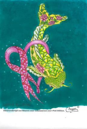 Competition by KleurenVoorVolwassenen for Pink Ribbon. Won 3rd price: keychain Pink Ribbon.
