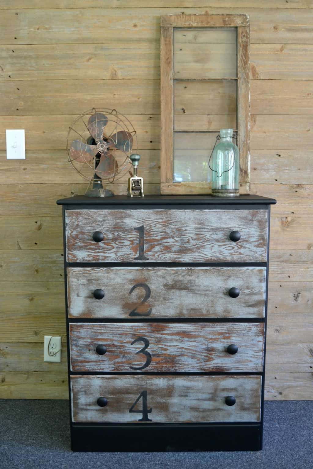 Rustic Dresser Makeover With Stain Paint And Numbers