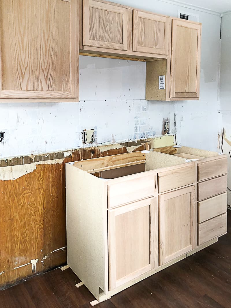 Unfinished Wood Cabinets To Make The Flip House Kitchen