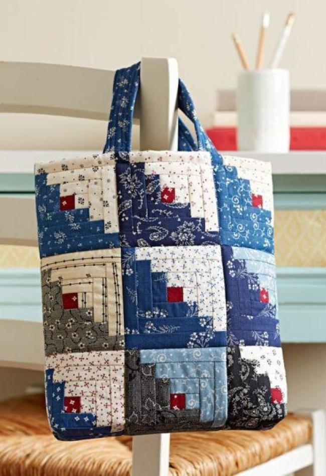 Mini Log Cabin Bag free pattern