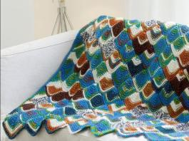 Crochet Brightly Colored Tunisian Throw Pattern