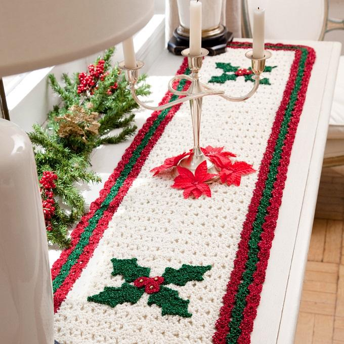 Crochet Pattern Holly Table Runner