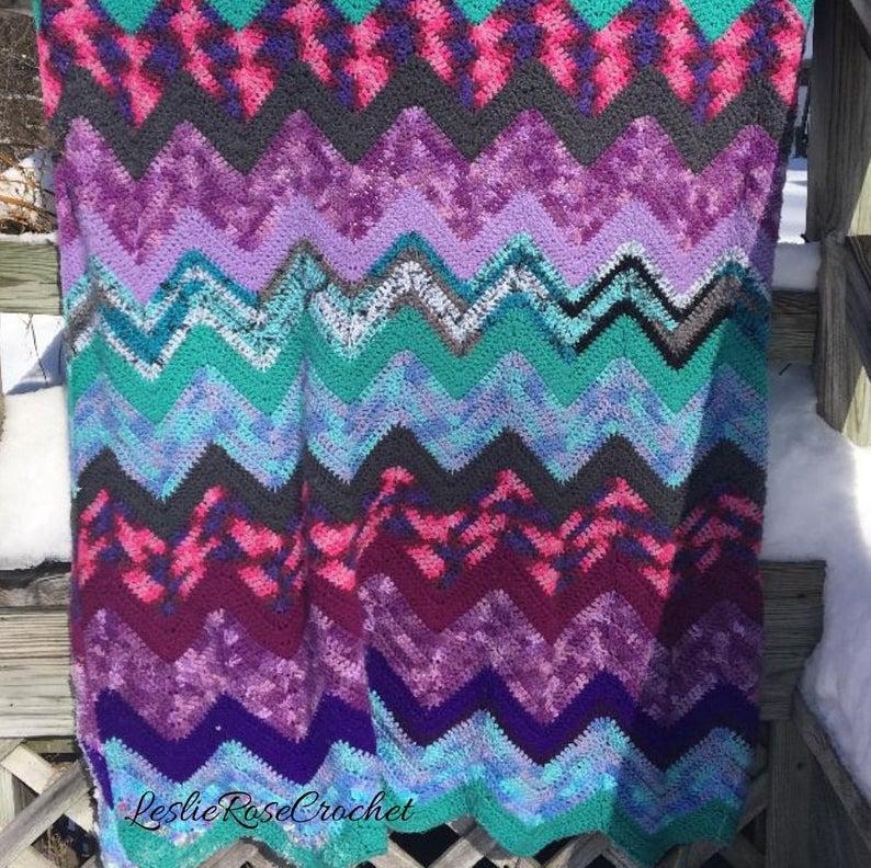 A Chevron Crochet Blanket Basic Guide Crochet Blanket Pattern Chevron Crochet Throw Pattern Wave Etsy